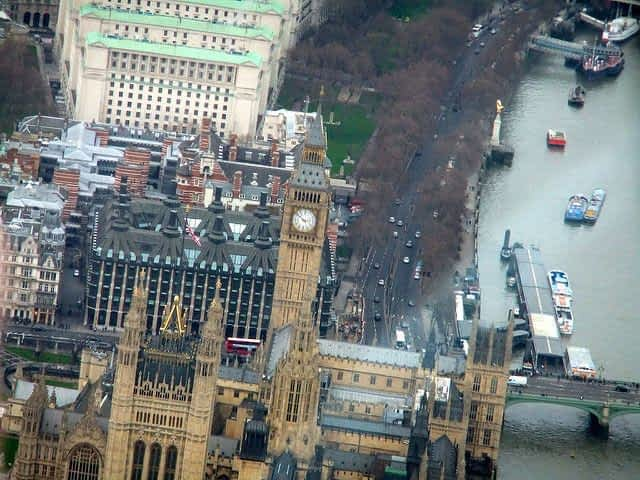 Helicopter tour view of Houses of Parliament